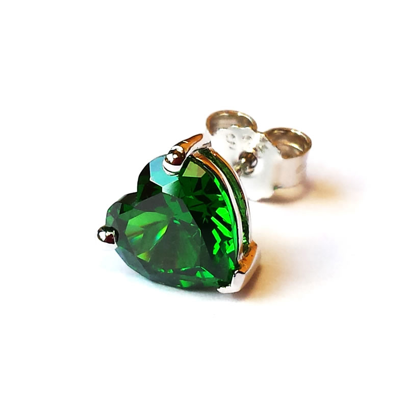 Emerald Heart Light - Stud Earrings